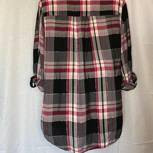 New York & Company Tops - New York & Company Pink and Black Plaid Wrap Top